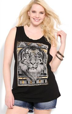 4cffa4949a5 Plus Size Tank Top with Tiger Screen and Double Twist Back