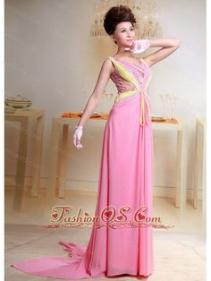 Buy lovely baby pink chiffon brush train square colorful straps prom party gowns from rose pink prom dresses collection, straps neckline column/sheath in color,cheap chiffon dress with zipper and watteau train for party . Summer Holiday Dresses, Holiday Party Outfit, Party Outfits, Pink Evening Dress, Women's Evening Dresses, Beaded Prom Dress, Beaded Chiffon, Cheap Dresses, Nice Dresses