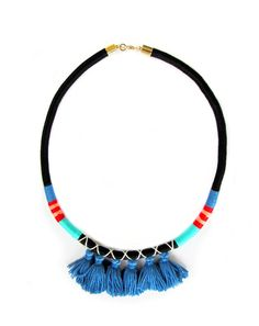 Rope Statement Necklace Multi Tassel Necklace by HippieThings