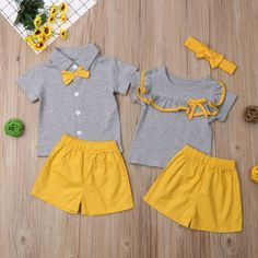 2018 Multitrust Brand Family Matching Kids Baby Girl Boy Big Little Sister Brother Tops Yellow Shorts Outfit Summer Cute Clothes