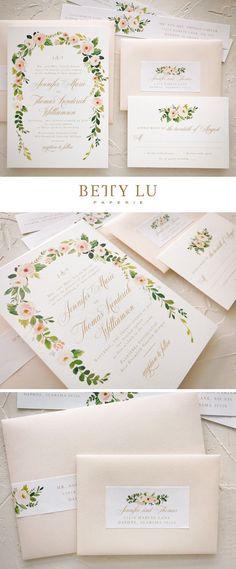 blush, peach, wedding invitations, elegant, bohemian, floral, fall wedding, invitations, simple, watercolor, gold #weddingideas #bohowedding #rusticwedding #simplefallweddinginvitations