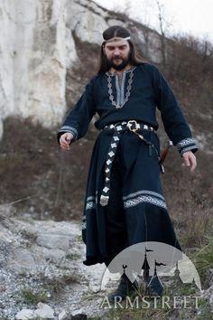Black Medieval Mens Tunic Raven