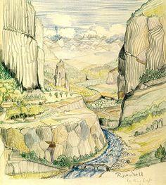 Tolkien illustration for The Hobbit Jrr Tolkien, Tolkien Books, Tolkien Tattoo, Fantasy Landscape, Fantasy Art, Tolkien Drawings, Lotr, Illustrations, Illustration Art