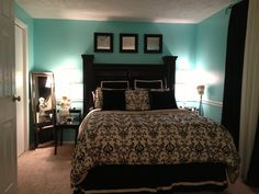 Black, white, and Tiffany blue bedroom. Yes, please.