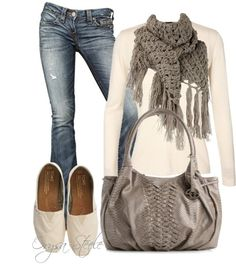 Perfect simple outfit.  Cream and Cashmere and gray. Except the bag. Everything else is yummy.