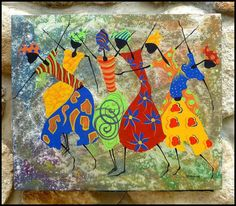 Haitian Dancing Women Hand Painted Canvas Painting - Original Art of Haiti - 20 x 24 - CP-1067