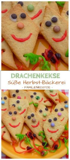Dragon biscuits - recipe for baking cookies in autumn- Drachenkekse – Rezept zum Kekse backen im Herbst Dragon biscuits: these biscuits are easy to bake and are the perfect children's biscuits especially for autumn for children's birthday parties, kinderg Cookies For Kids, No Bake Cookies, Baking Cookies, Baking Biscuits, Crinkle Cookies, Baking Recipes, Cookie Recipes, Drink Recipes, Appetizer Recipes