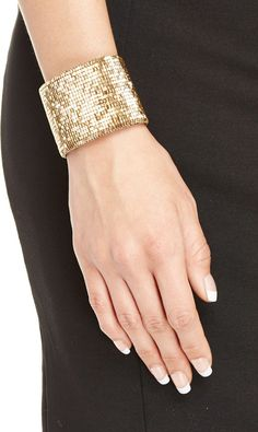Love Heals Beaded Leather Cuff Bracelet in gold