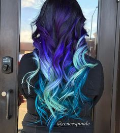 WEBSTA @ reneespinale - Using all @pulpriothair in shades nightfall, jam, sea glass, powder and aquatic I created this look for the birthday queen herself @veronicaa.mariella_x94 happy birthday baby have fun tonight xoxo #hairporn #modernsalon #hairextensions #behindthechair #pulpriothair @fuckinghair @imallaboutdahair @modernsalon @behindthechair_com