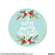 A Very Merry Christmas Floral Mint