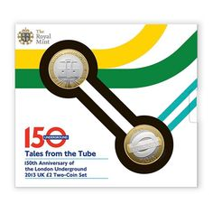 Packaging for a £2 coin celebrating the 150th Anniversary of the London Underground. The outer packaging places the coins in the Tower Hill and Tower Gateway stations, the area The Royal Mint was located before its move to Llantrisant in 1968. #londonunderground #travel #london #infographic #£2 #coin #royalmint #thetube #transport #underground #packaging #commemorativecoin #towerhill #towergateway