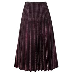 Burgundy Metallic Pleated Skirt (€105) ❤ liked on Polyvore featuring skirts, knee length pleated skirt, burgundy pleated skirt, elastic waist skirt, elastic waistband skirt and purple pleated skirt