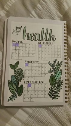 Monitor your health with your bullet journal. Here's an example. Plus 100 more BuJo page ideas in this post! Monitor your health with your bullet journal. Here's an example. Plus 100 more BuJo page ideas in this post! Bullet Journal Tracker, Bullet Journal Mise En Page, List Of Bullet Journal Pages, Bullet Journal Mood, Bullet Journal Aesthetic, Bullet Journal Spread, Bullet Journal Health, Bullet Journal Workout, Bullet Journal Goals Layout