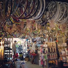 The awesomeness of Brick Lane Bike shop! Photo by finnharries  - scenes like these are why I haven't bought a bike yet! I am panicking just pinning it!