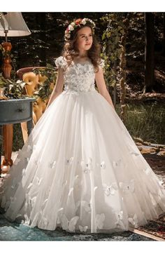 Girls White Butterfly Hem Gown Preorder 4 to 14 Years (Girls Easter Dresses). Allow minimum 4 weeks for delivery. Girls Easter Dresses, Girls Pageant Dresses, Flower Girl Dresses, 14 Year Girl, Wedding Gowns, Wedding Day, White Butterfly, Tween Girls, Little Girl Fashion