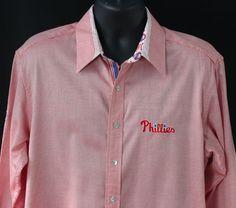 Robert Graham Philadelphia Phillies Mens L Dress Shirt L/S Red Embroidered Large #RobertGraham #ButtonFront