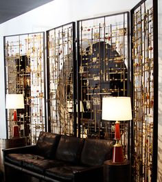 Bead and Brass Sculptural Screen