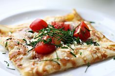 Savoury crepe with cheese, ham and egg