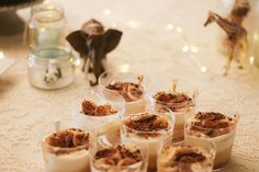table set up animals baby party banoffee