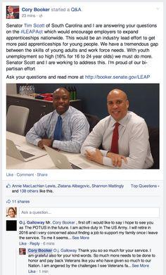 Sen. Cory Booker and Sen. Tim Scott Facebook Q&A