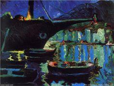 Port of Cadaques (Night) - Salvador Dali . 1918. Post-impressionism