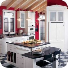 to do this yep white cabinets red walls gray ceiling black