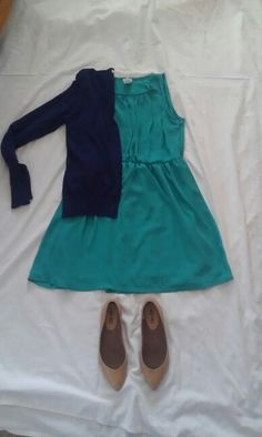 MAY 16: navy cardigan, green dress, nude flats, gold accessories (not pictured)