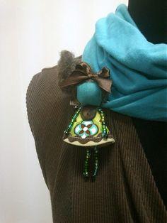 maramanufaktura / brošňa mini MARA /zeleno-tyrkysovo-hnedá//
