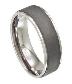 Mens Titanium Wedding Band, Matte Finish with Polished Edges | 8mm