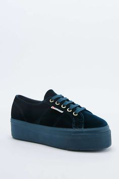 Superga 2790 Linea Up and Down Teal Velvet Flatform Trainers