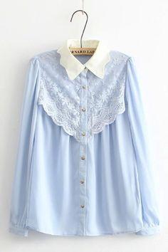 Barato Sh10 americano moda 2016 mulheres elegante rendas Patchwork blusa manga comprida gola de babados Tops camisas Casual, Compro Qualidade Blusas diretamente de fornecedores da China: