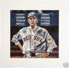 """Babe Ruth Hand Embellished Giclee Print. A high quality hand embellished unframed print of a young Babe Ruth, entitled """" No, No, Nanette"""", from artist Grant Smith. . Behind Ruth's head is text from a Frazee musical. . The unframed print image is 12"""" x 12"""" , with overall dimensions with border 17"""" x 17"""". Johnny Damon of the Yankees owns the original painting. (Hand Embellished means the artist actually paints on the canvas)."""