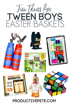 This list of fun gifts for a Tween Boy's Easter Basket is the easy way to finish up those hard-to-buy-for tweens this Easter. These Easter Basket Ideas for Tween Boys include fun gifts like LEGO Easte Tween Boy Gifts, Gifts For Teen Boys, Boys Easter Basket, Easter Gift Baskets, Basket Gift, Unique Easter Basket Ideas, Easter Decor, Easter Egg Stuffers, Easter Toys