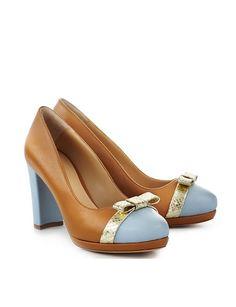 ShoeVita Damen Leder Plateau Pumps Cognac & Hellblau Python Schlange Gold Größe 35 - 43: Amazon.de: Schuhe & Handtaschen