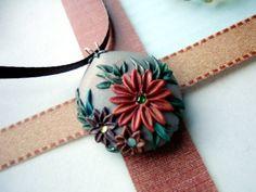 Floral Autumn Pendant with swarowski rhinestones by Peelirohini, $34.00
