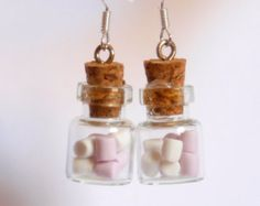 Marshmallow bottle necklace polymer clay kawaii jar by Zoozim