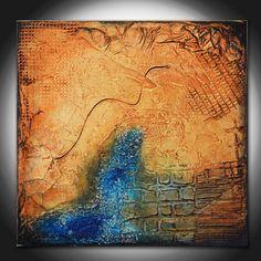 Kleine abstrakte Textural Original Painting, Brown Blue Abstract, blaue Malerei, kleines Geschenk, blauer Rost Malerei, originelles Geschenk, Rost Malerei