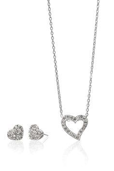 Set aus Halskette und Ohrringe mit Herzmotiv, aus Sterlingsilber...