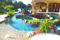 backyard oasis lazy river pool with island lagoon and jacuzzi in the middle #BunnyCouture