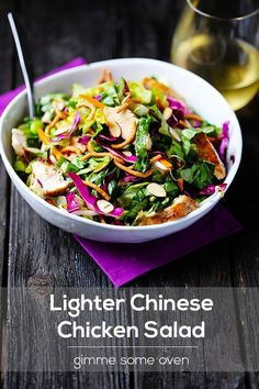 Lighter Chinese Chicken Salad-  to make gluten free skip the chow mein noodles and use a gluten free soy sauce like la choy brand