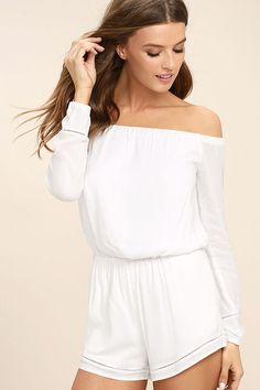When it comes to the Tavik Carey White Off-the-Shoulder Romper, we can't help but stare! Breezy, stretch-woven rayon shapes an elasticized, off-the-shoulder neckline, backless bodice (with top button closure), and long sleeves with elastic cuffs. Relaxed shorts feature side seam pockets, an elastic waist, and crochet detail at hem.