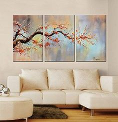 "Modern Hand-Painted ""Orange Plum Flower"" 3-Piece Gallery-Wrapped Flower Oil Painting On Canvas"