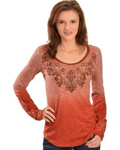 Miss Me Rustic Copper Ombre Dip Dye Top
