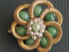 Vintage Flower Brooch Pin Green Caboshons by RicksVintagePlus, $32.00
