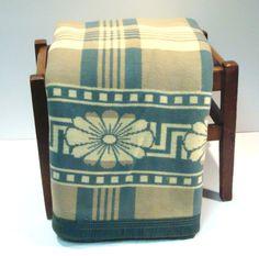 Vintage Tan Cream and Green Plaid Camp Blanket by VintageCreekside, $75.00