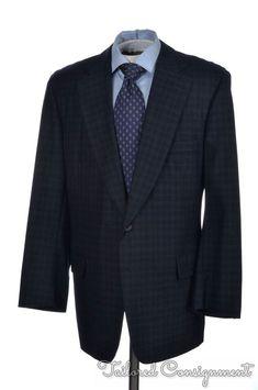 34863afe0acfa PAUL STUART Blue Check Wool Cashmere Center Vent Jacket Pants SUIT Mens - 44  L