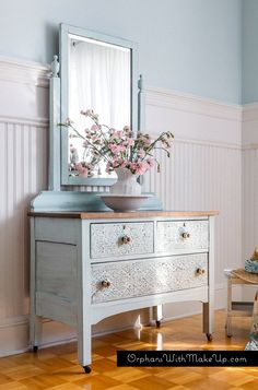 shabby chic pale blue embossed dresser with damask stencil painted with eco-friendly DIY furniture paint by Country Chic Paint Blue Furniture, Unique Furniture, Shabby Chic Furniture, Furniture Projects, Furniture Makeover, Painted Furniture, Furniture Movers, Street Furniture, Furniture Online
