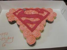 Supergirl cupcake cake