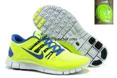 buy cheap  Pas Cher Nike Free Run+ 4 Hommes Volt couleur noire Barely Volt Hyper Bleu 579959 034,top quality onsale just: $36.99