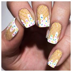 Ice cream nails Base coat is by @essence_cosmetics called You're so beautiful And the rest is hand drawn with acrylic paints!